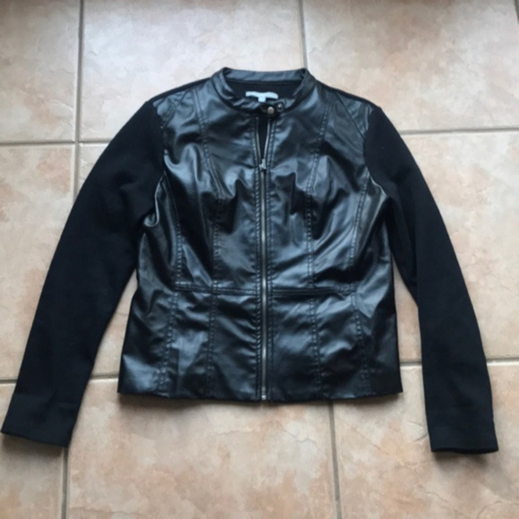 NY Collection Jackets & Blazers - 3/$30 NY Collection Black Vegan Leather Jacket Med